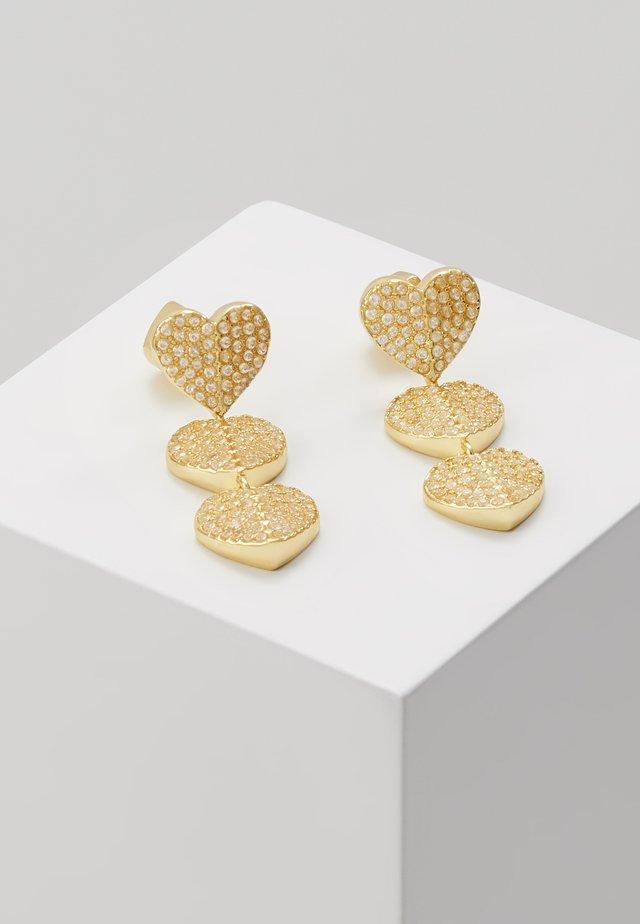 PAVE TRIPLE DROP EARRINGS - Boucles d'oreilles - clear/gold-coloured
