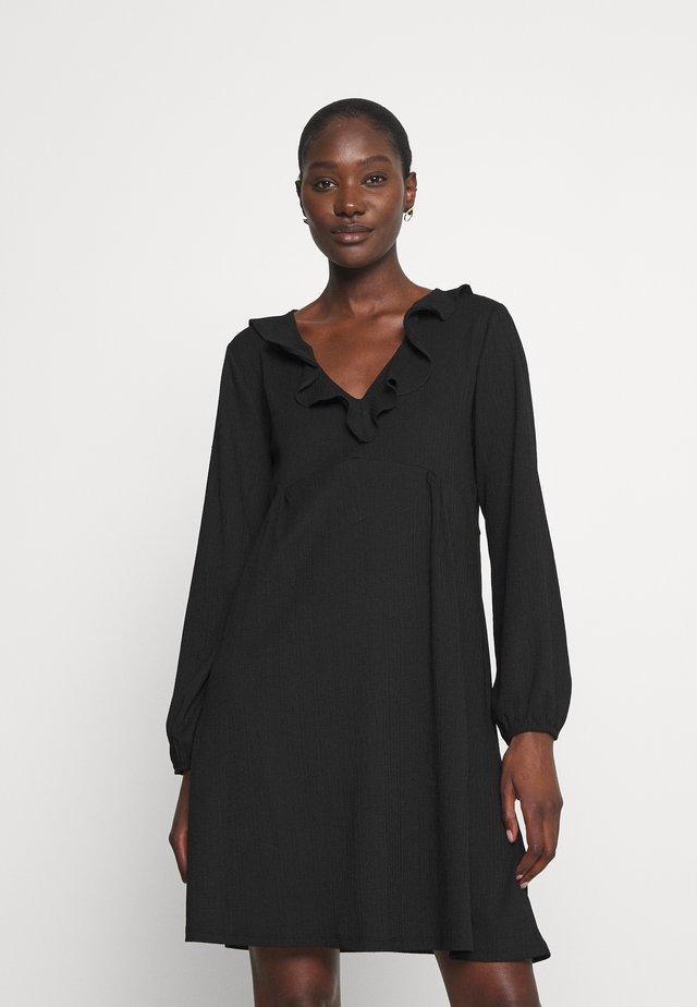 CRINKLE DRESS - Korte jurk - black