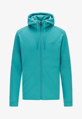SAGGY - Sweat à capuche zippé - turquoise