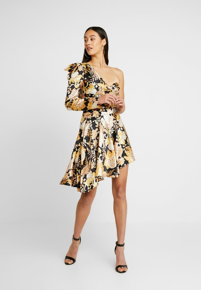 ROMA WRAP ONE SHOULDER DRESS - Cocktailjurk - black/gold chateau
