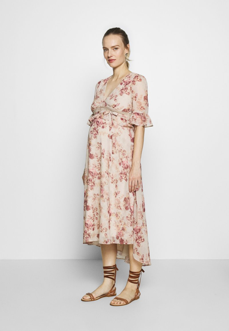 Hope & Ivy Maternity - MIDI PEPLUM KEYHOLE BACK DRESS - Cocktail dress / Party dress - blush