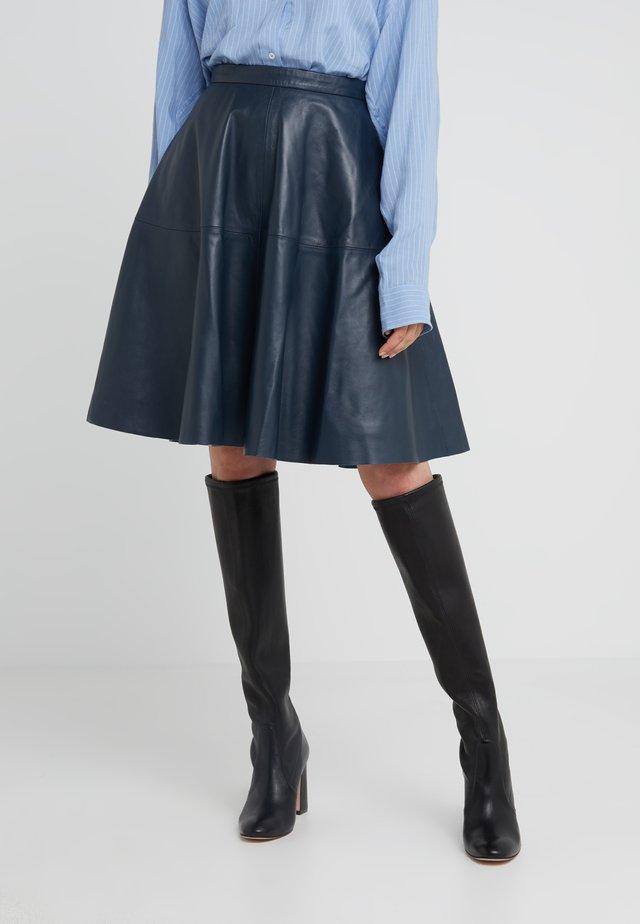 HANNAH LEATHER SKIRT - Jupe trapèze - dark blue