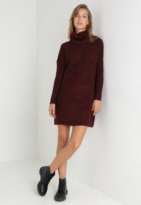 ONLY - ONLJANA COWLNECK DRESS  - Pletené šaty - chocolate truffle - 1