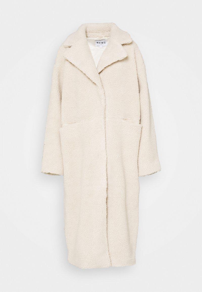 NA-KD - OVERSIZED LONG COAT - Zimní kabát - light beige