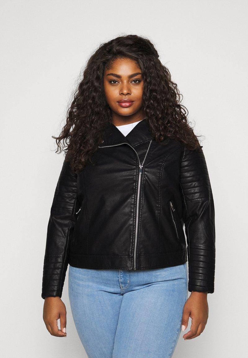New Look Curves - BIKER - Faux leather jacket - black