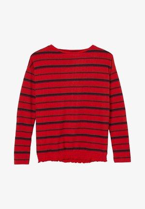 MIT GESMOKTEM SAUM - Long sleeved top - red stripes