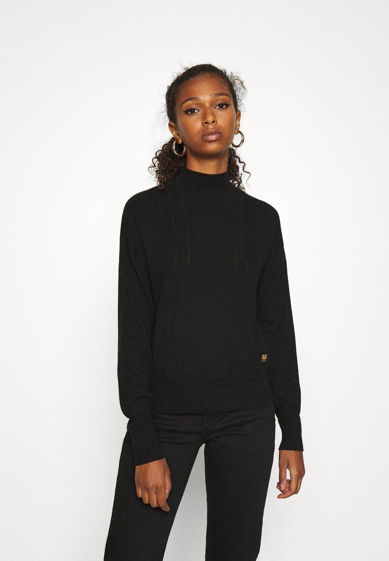 G-Star - CORE MOCK KNIT WMN L\S - Strikkegenser - dk black