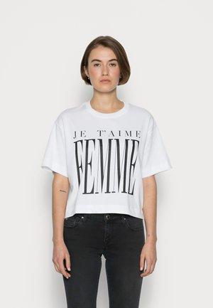 SLFCITY O NECK CROP TEE - Print T-shirt - bright white