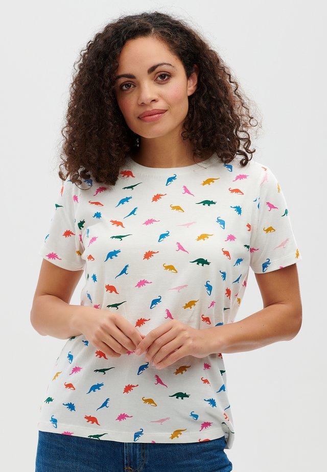 MAGGIE DINOSAURS JUMBLE - T-shirt imprimé - off white
