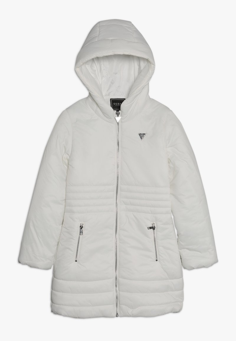Guess - JUNIOR PADDED HOODED LONG JACKET - Płaszcz zimowy - white clay