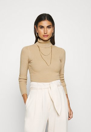 BASIC- RIBBED TURTLE NECK - Pullover - sand