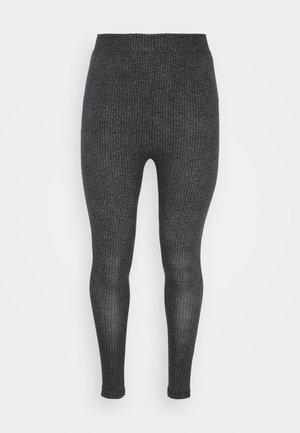 HIGH WAISTED HERRINGBONE PRINTED - Leggings - Trousers - black