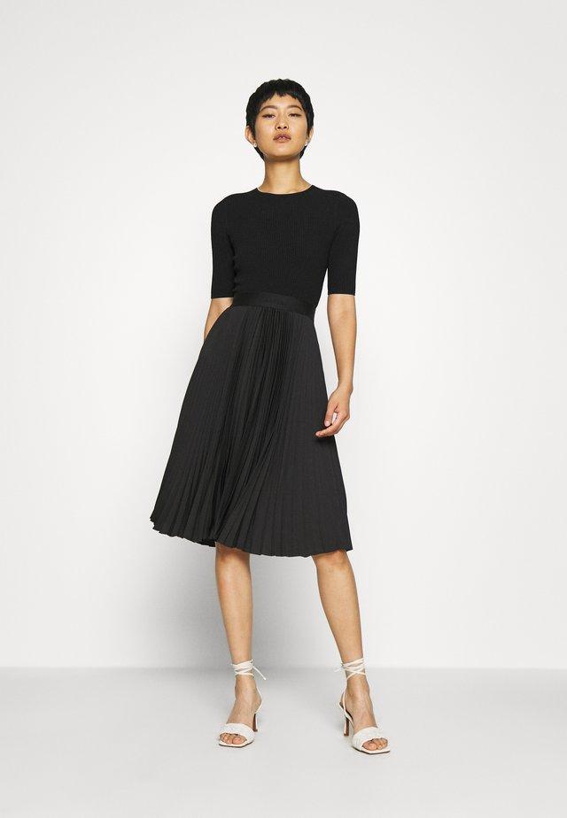 PLEATED SKIRT MIDI DRESS - Day dress - black