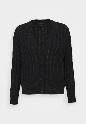 POINT SUR TEXTURED VNECK CARDIGAN - Cardigan - black