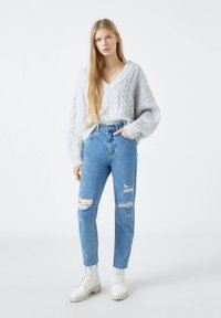 PULL&BEAR - Straight leg jeans - mottled dark blue - 1