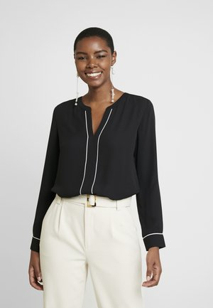 SPLIT NECK PIPED POPOVER - Blouse - black