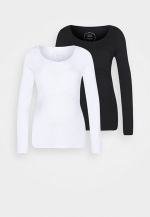 LAINA 2PACK - Long sleeved top - black/white