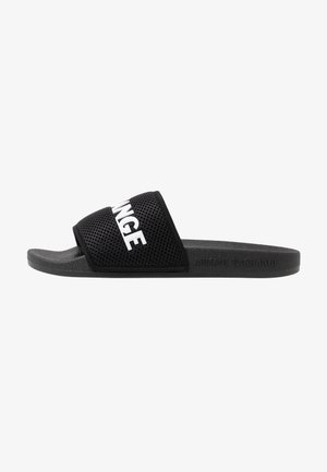 LOGO SLIDE - Pantofle - black/white