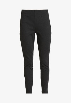 HIGH RISE SIDE ZIP PONTE - Legíny - charcoal heather