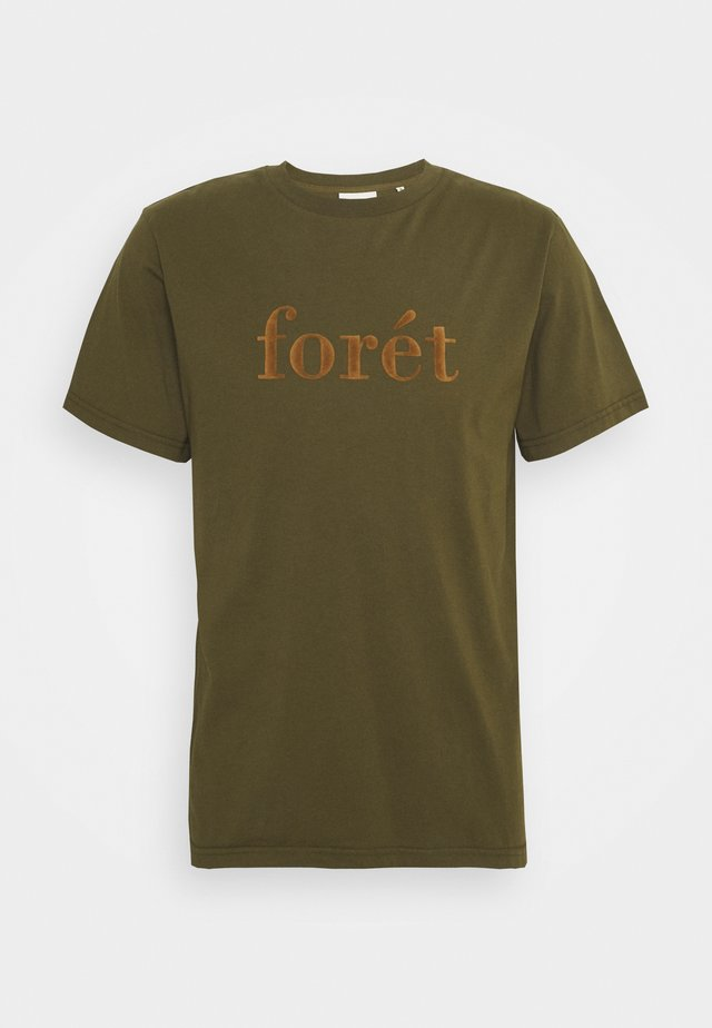 RESIN - Print T-shirt - dark olive camel