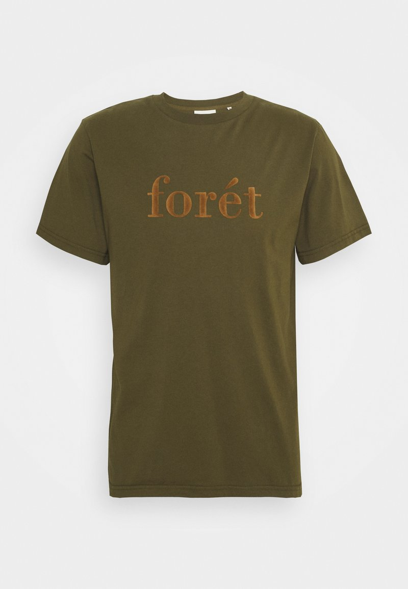 forét - RESIN - Print T-shirt - dark olive camel