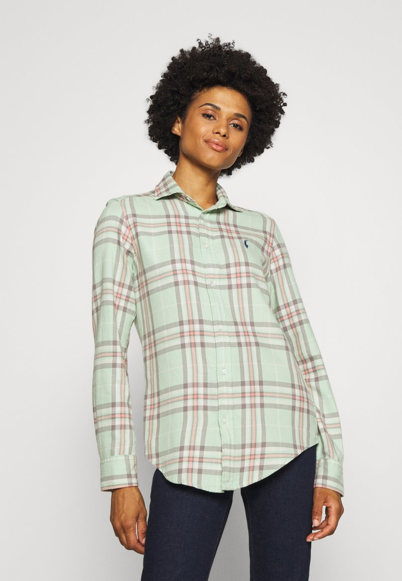 Polo Ralph Lauren - GEORGIA LONG SLEEVE BUTTON FRONT - Button-down blouse - green/multi