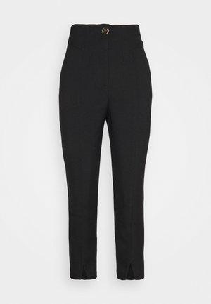 SPLIT FRONT CIGARETTE - Trousers - black
