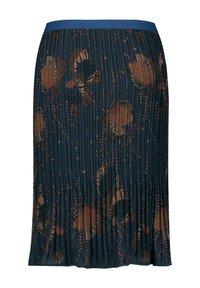 Samoon - MIT FLORALEM DESSIN - Pleated skirt - navy gemustert - 1