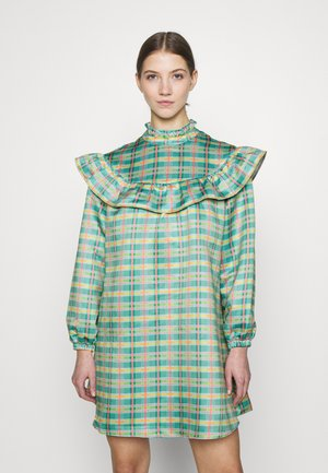 OVERSIZE Prairie ruffle bib dress - Day dress - green/multi-coloured