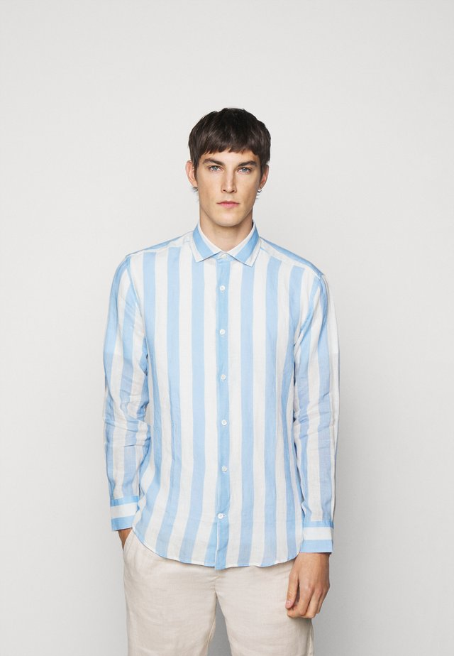 LINEN STRIPED SHIRT - Shirt - light blue/white