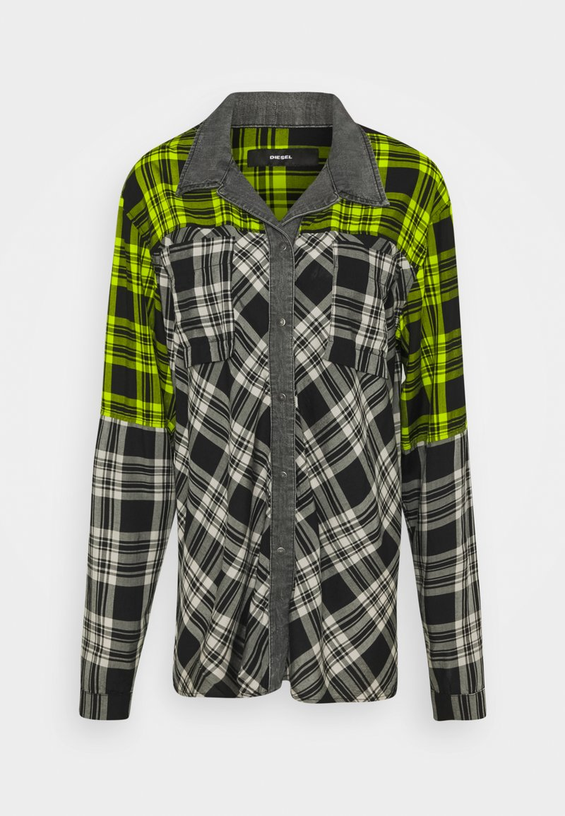 Diesel - C-NILLA SHIRT - Button-down blouse - grey/lemon