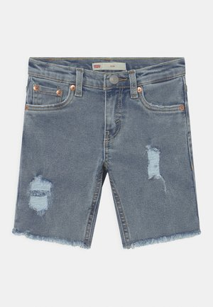 SLIM FIT ECO FLEX - Denim shorts - light-blue denim
