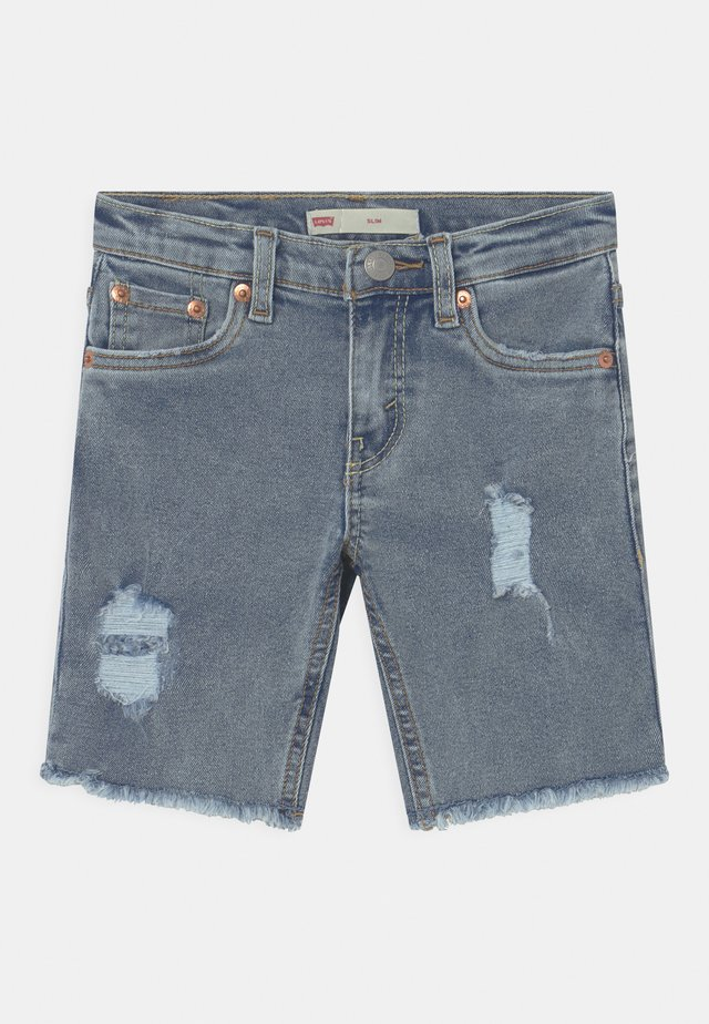 SLIM FIT ECO FLEX - Denim shorts - light-blue denim