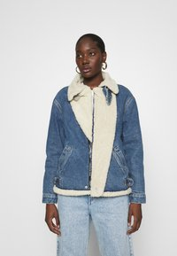 Calvin Klein Jeans - MOTO JACKET - Denim jacket - mid blue - 3