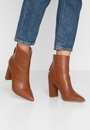 RENN - High heeled ankle boots - cognac