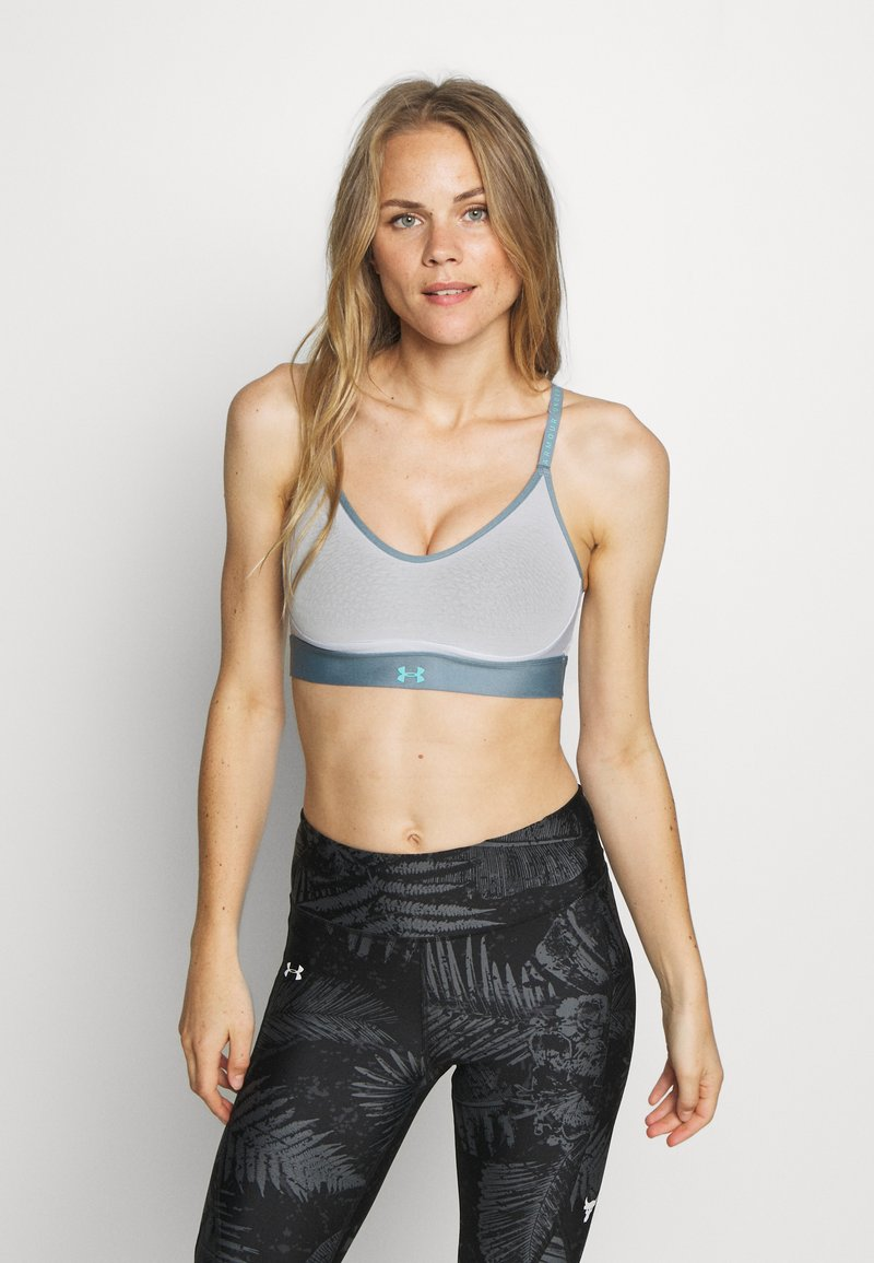 Under Armour - INFINITY LOW BRA - Sports bra - halo gray/hushed turquoise/radial turquoise