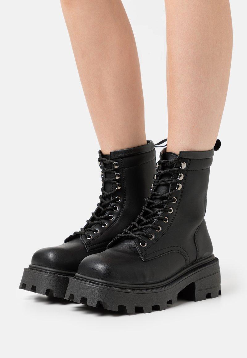 Topshop - BAE SQUARE TOE LACE UP - Platform ankle boots - black