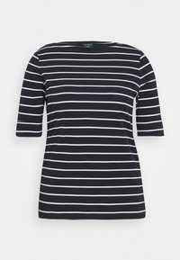 JUDY ELBOW SLEEVE - Print T-shirt - navy/white