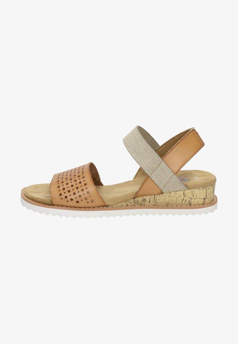 BOBS from Skechers - KISS - Wedge sandals - cognac
