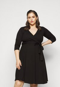 Dorothy Perkins Curve - WRAP DRESS - Day dress - black - 0