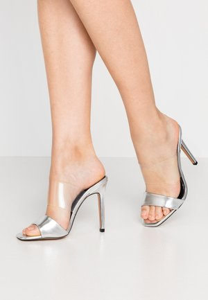 STELLA PERSPEX MULE - Heeled mules - silver