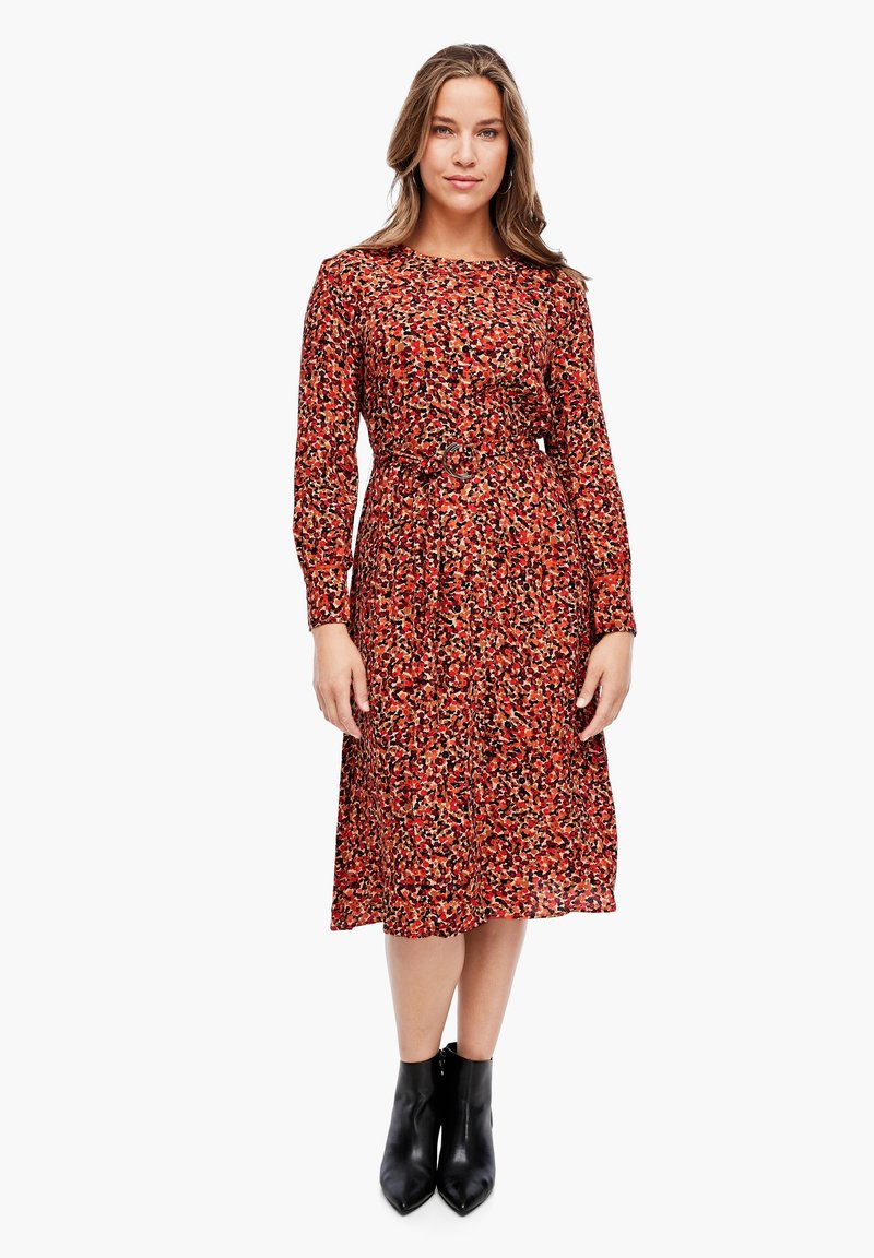 Triangle - Day dress - brown millefleurs aop