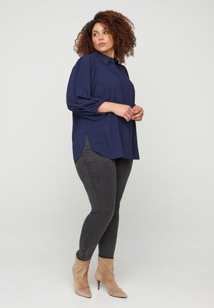 3/4-LENGTH PUFF SLEEVES - Button-down blouse - blue