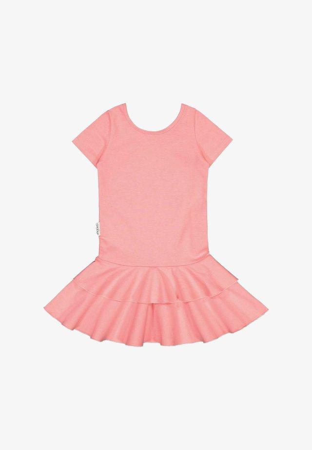T-SHIRT DRESS FRILLA - Day dress - pastel coral