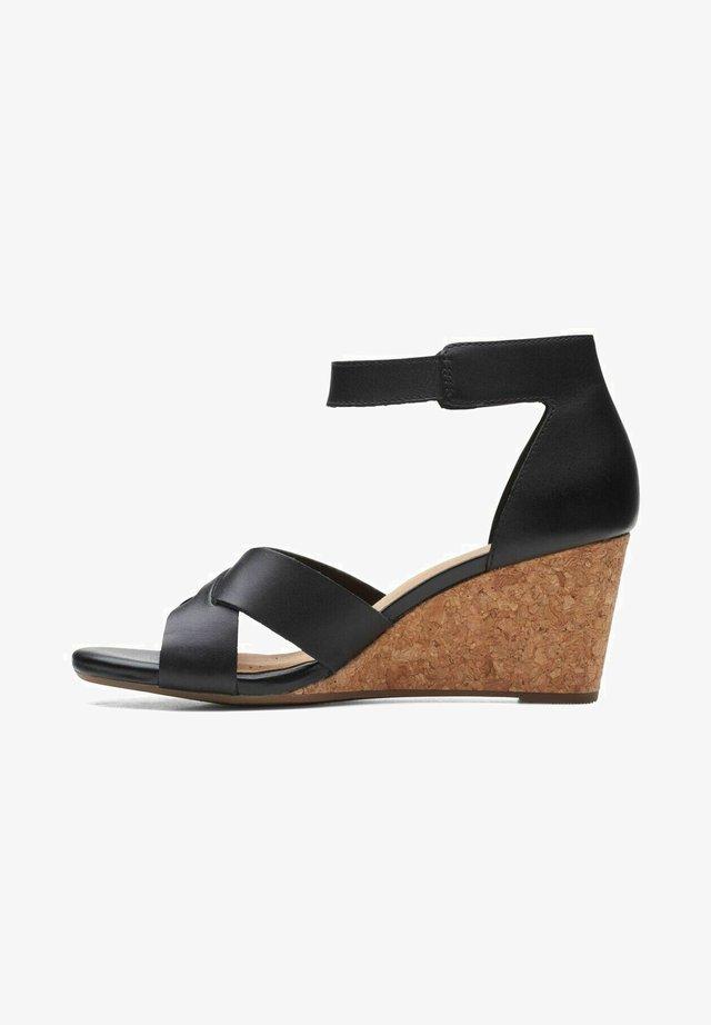 Sandalen met sleehak - black leather
