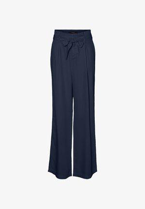 VMNEVE XHR PAPERBAG WIDE PANTS - Trousers - navy blazer