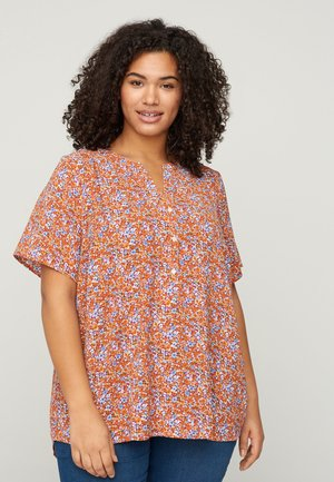 Blouse - orange flower aop