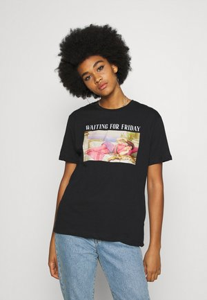 CLARE WAITING FOR FRIDAY - Print T-shirt - black