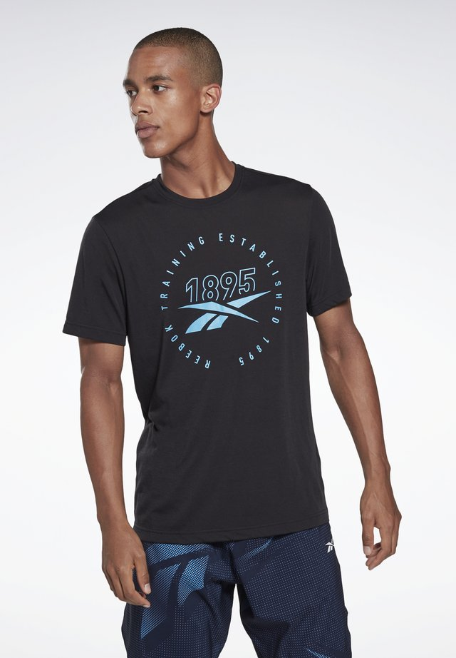 GS TRAINING SPEEDWICK TEE - Print T-shirt - black/black