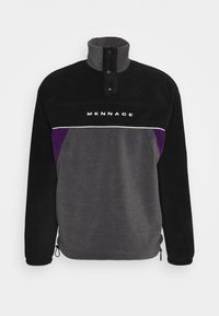Mennace - CHEVRON PANEL POLAR FLEECE 1/4 ZIP SWEATSHIRT - Sweatshirt - black - 4